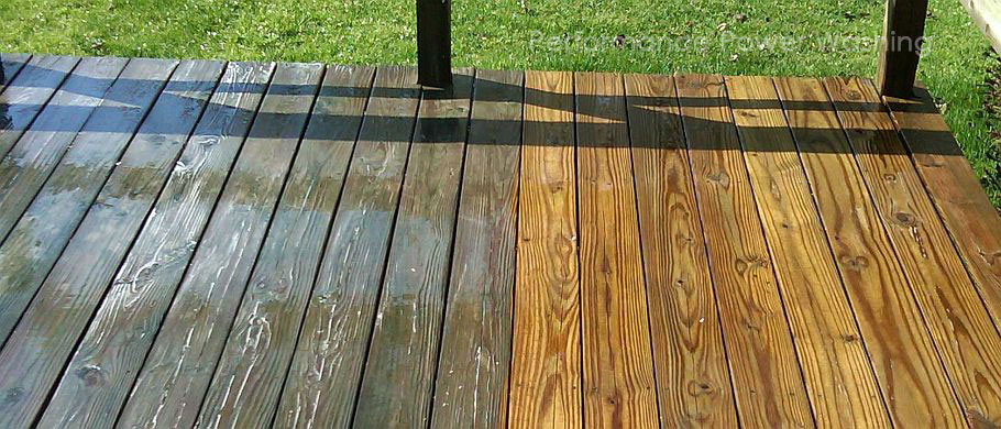 Performance Power Washing - before and after deck cleaning