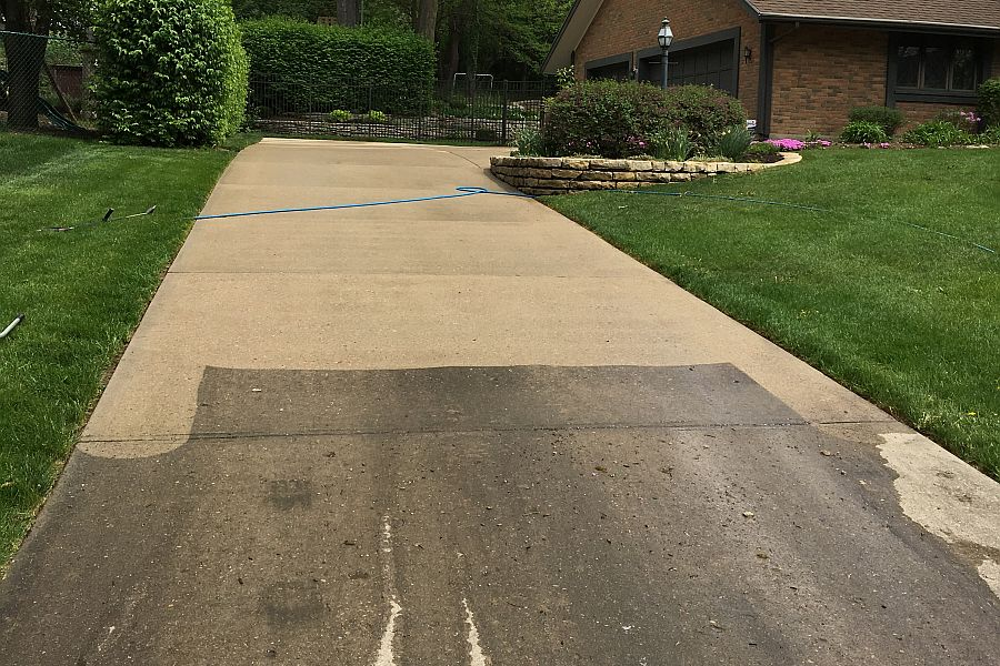 In-Process Residential driveway Before and After