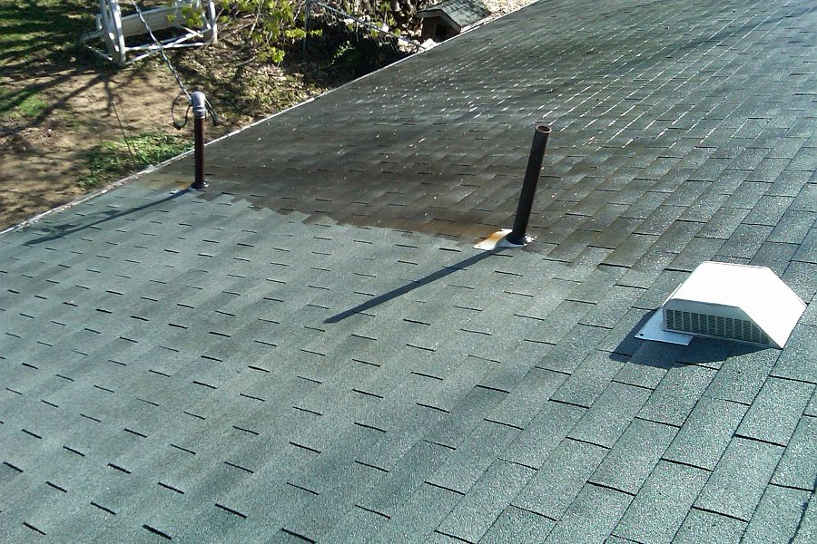 In-Process Residential roof Before and After
